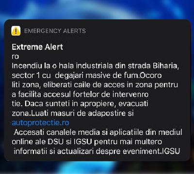 Serviciul Ro-Alert incendiu capitală