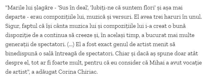 Corina Chiriac despre Mihai Constantinescu