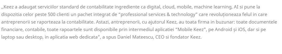 Daniel Mateescu, CEO si fondator Keez