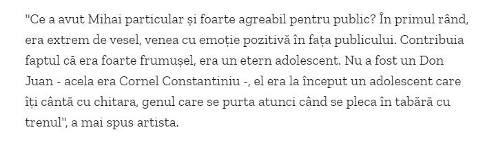 Declaratie Corina Chiriac despre Mihai Constantinescu