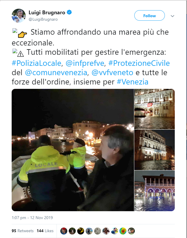 declaratie Luigi Brugnaro privind inundatiile din Venetia