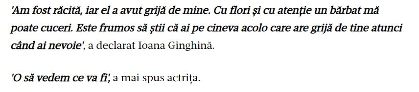 Ioana Ginghina despre iubit